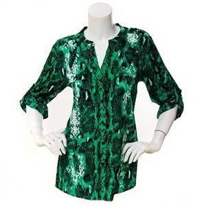 Calvin Klein green snake-skin print blouse